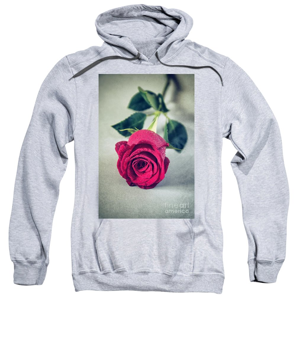 Rose Sweatshirt featuring the photograph Red Rose by Carlos Caetano