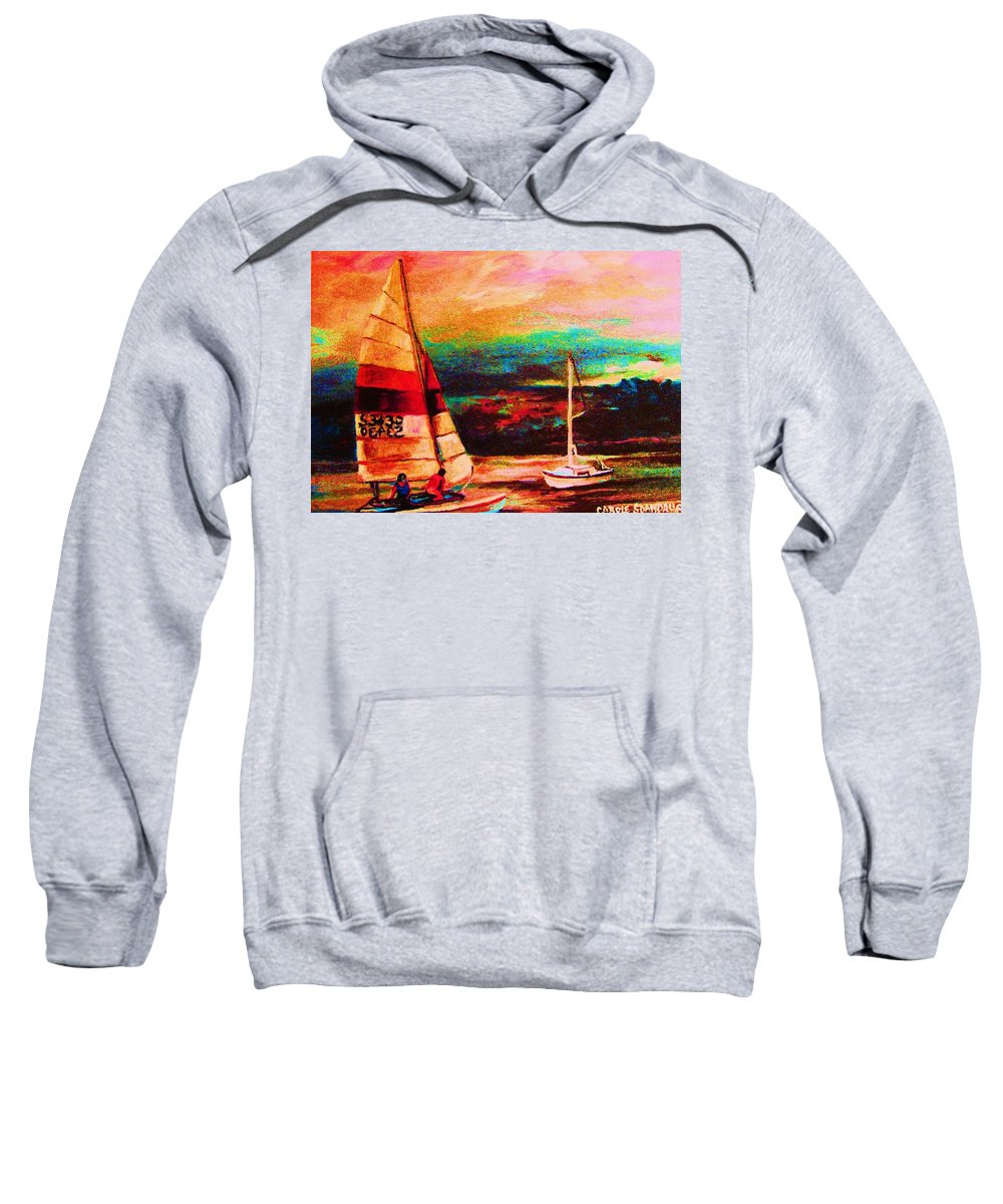 Sailing Sweatshirt featuring the painting Red Sails In The Sunset by Carole Spandau