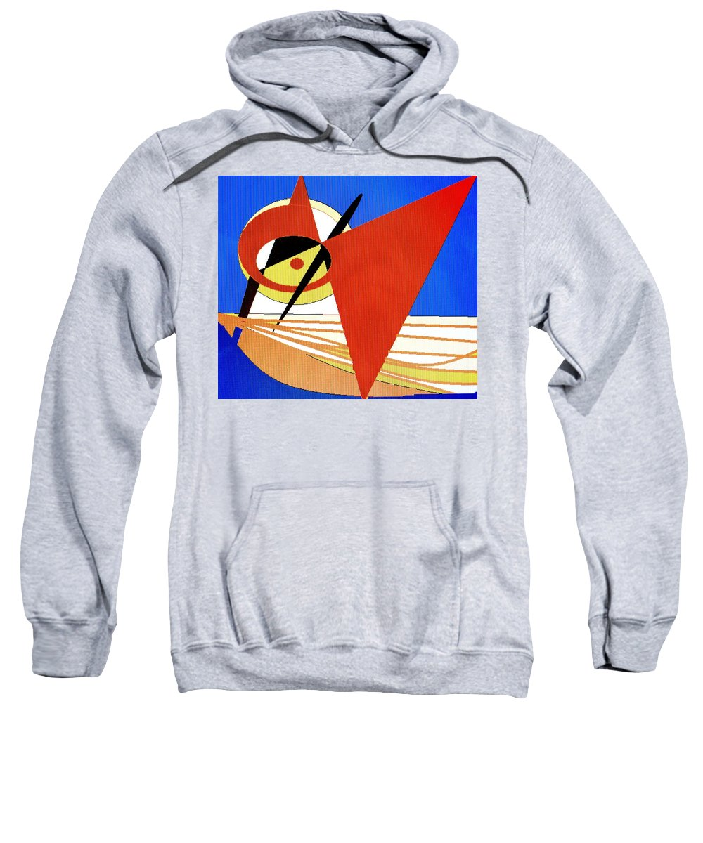 Boat Sweatshirt featuring the digital art Red Sails In The Sunset by Ian MacDonald