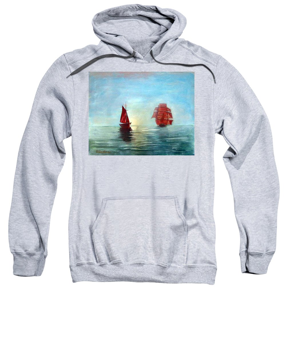 Sail Ship Sweatshirt featuring the painting Red Sails In The Sunset by Richard Le Page