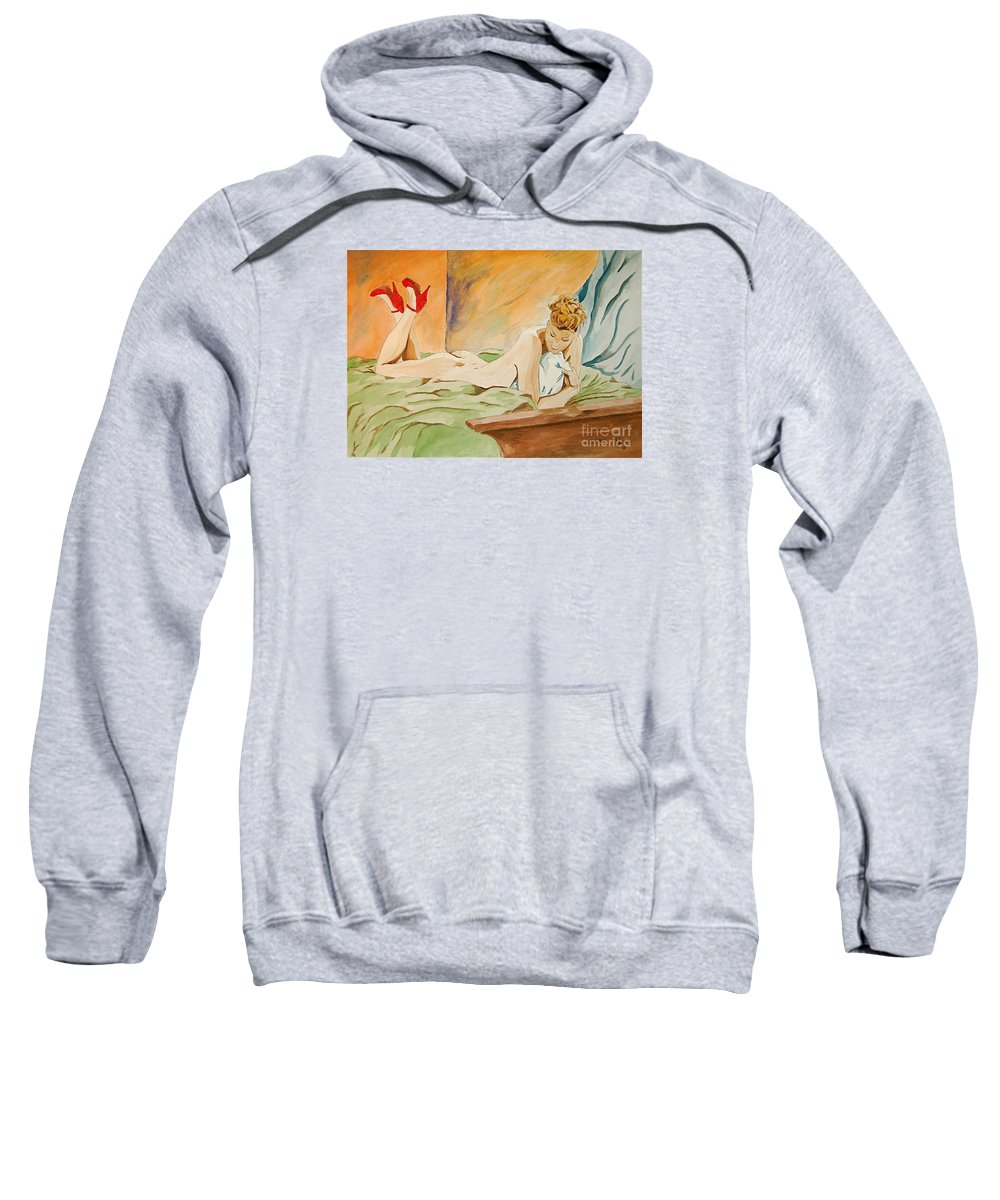 Nude Sweatshirt featuring the painting Red Shoes by Herschel Fall
