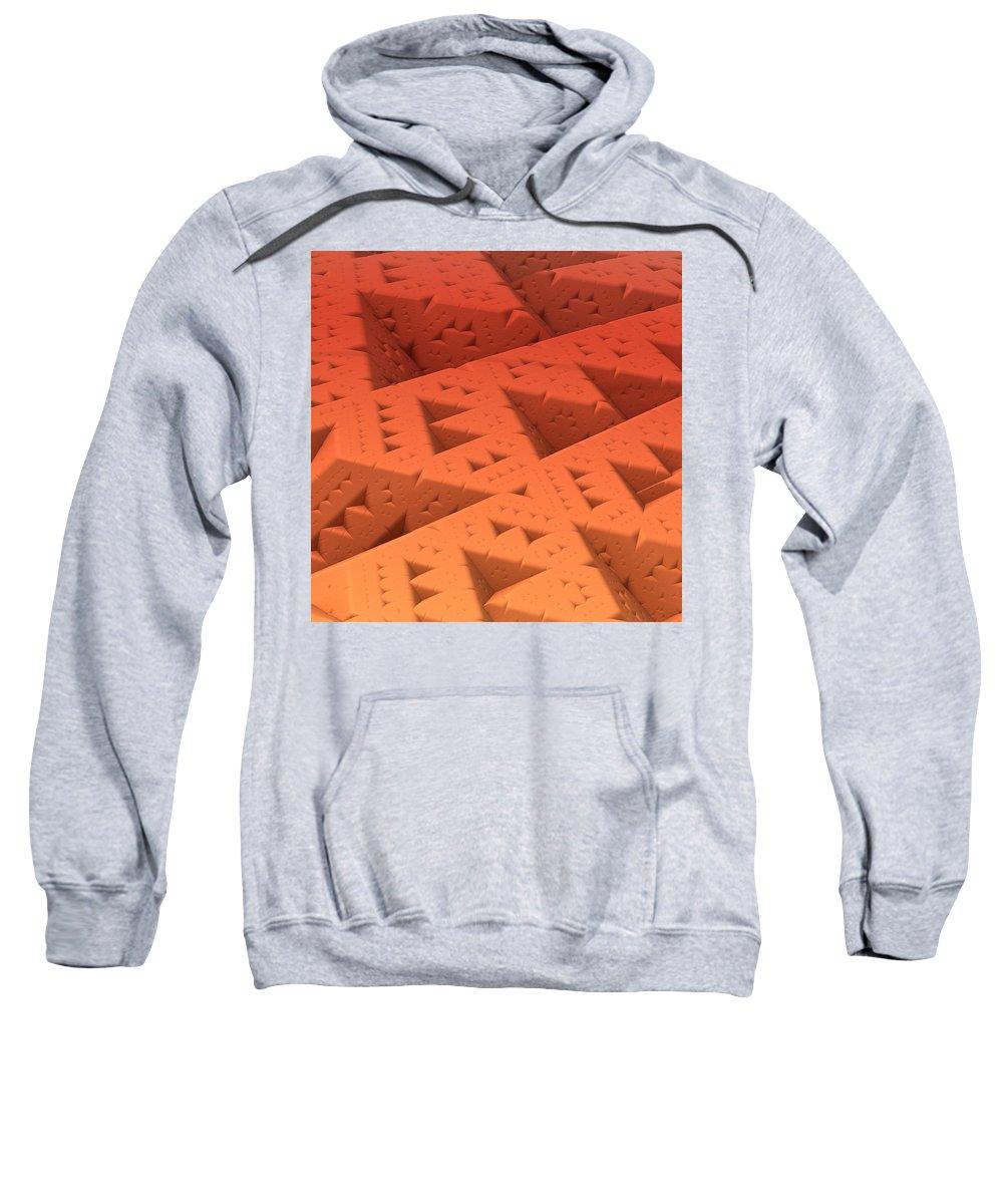 Mandelbulb Sweatshirt featuring the digital art Red Sierpinkski by Lyle Hatch
