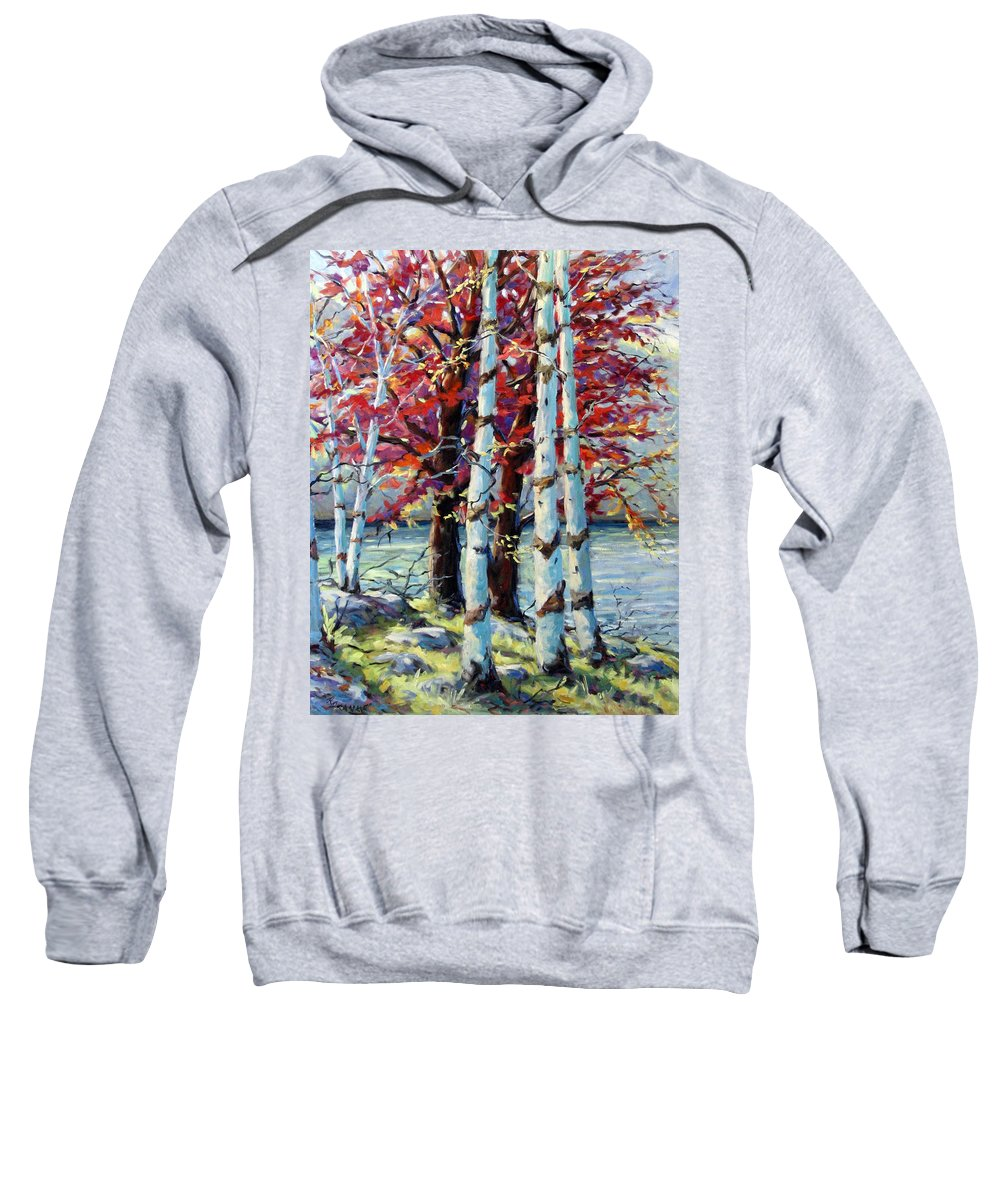 Birches Sweatshirt featuring the painting Red Splash by Richard T Pranke