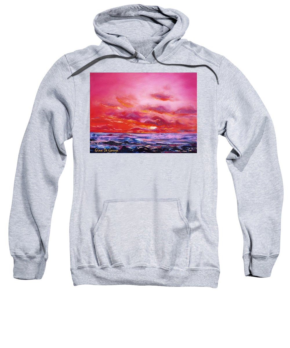Red Sweatshirt featuring the painting Red Sunset by Gina De Gorna