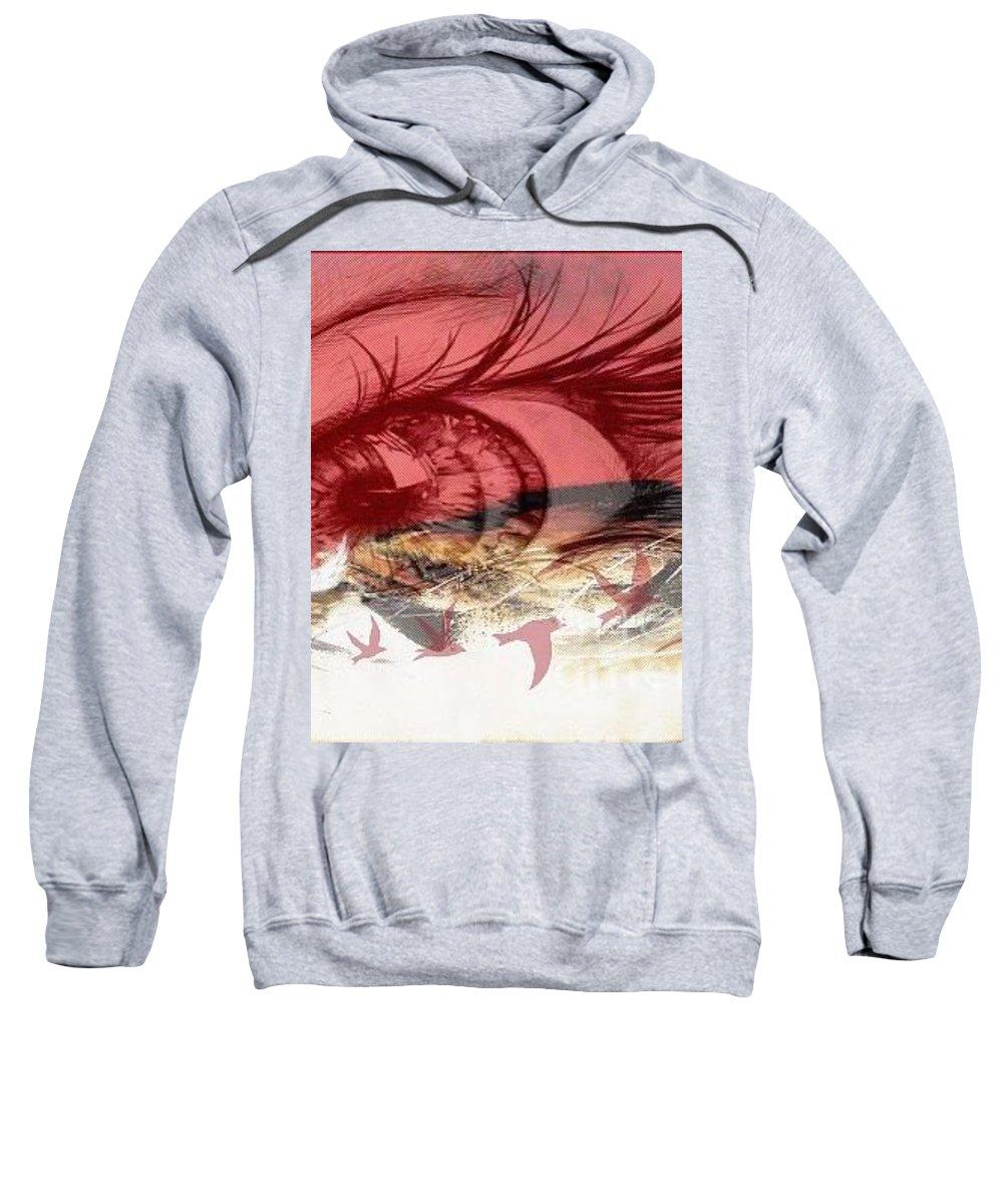 Sweatshirt featuring the digital art Red Tears by Jahanara Thasnim