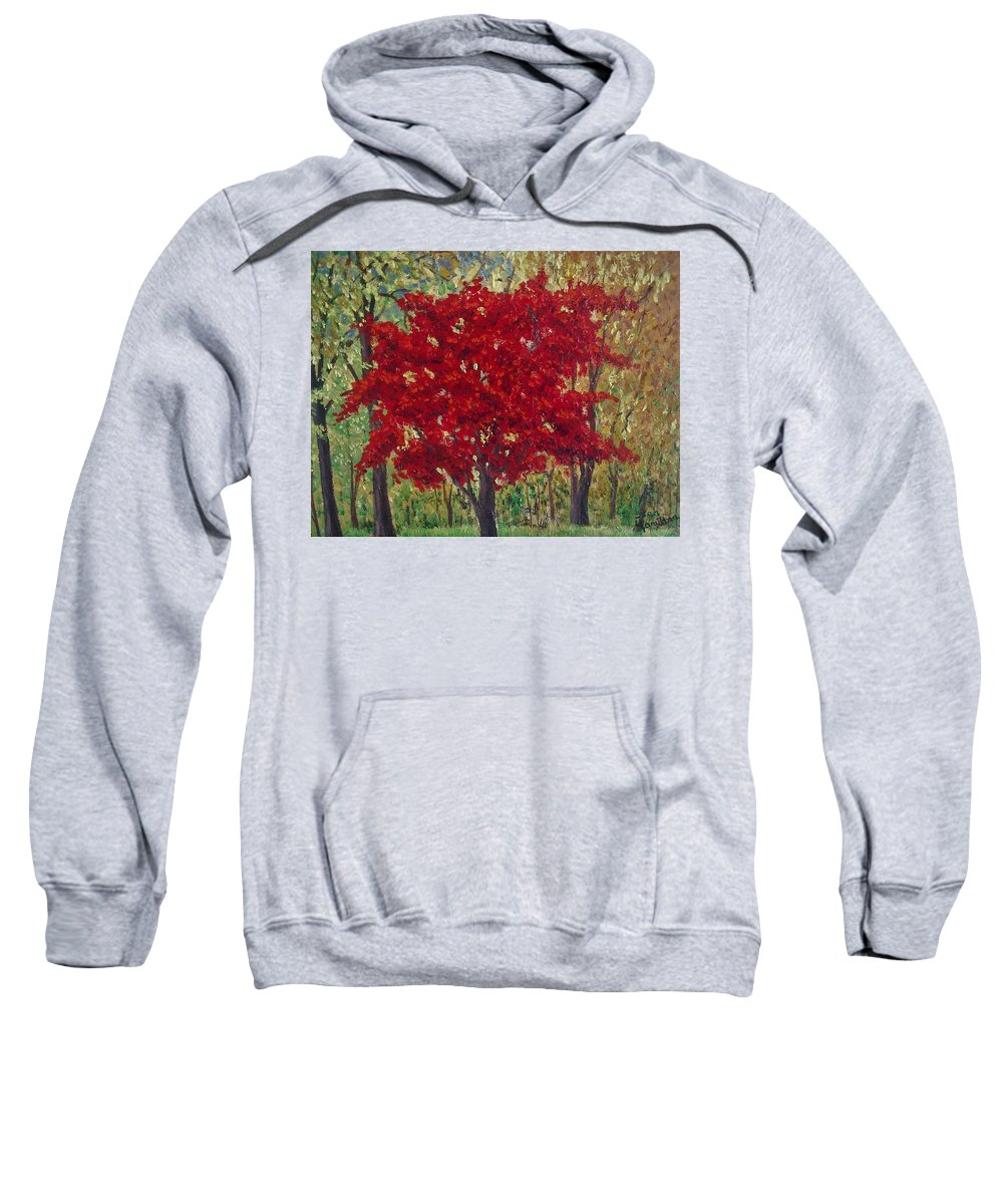 Impressionistic Sweatshirt featuring the painting Red Tree by Stan Hamilton II