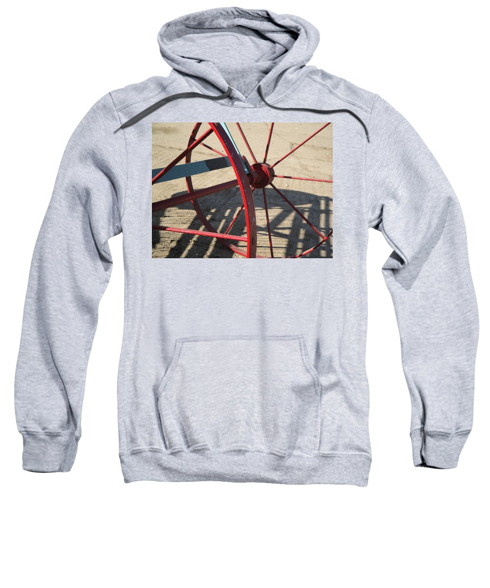 Wheel Sweatshirt featuring the photograph Red Waggon Wheel by Susan Baker