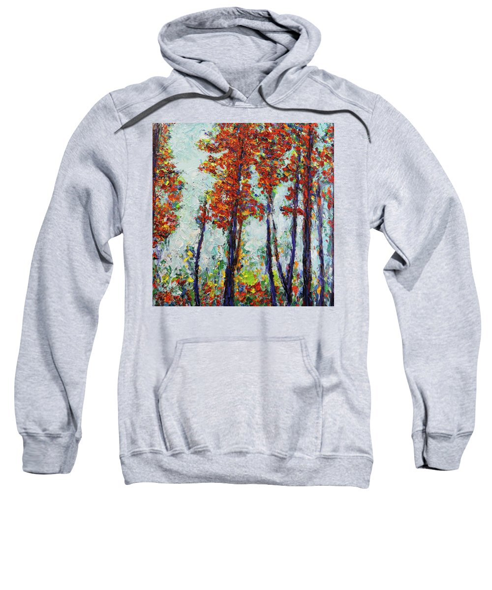 Palette Knife Sweatshirt featuring the painting Red Woods by Shannon Grissom