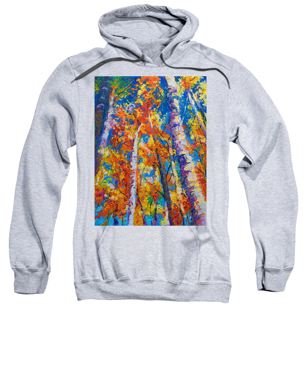 Impresssionist Sweatshirt featuring the painting Redemption - Fall Birch And Aspen by Talya Johnson