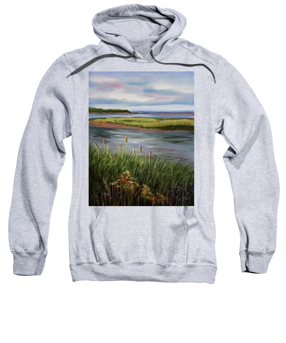 Reeds Sweatshirt featuring the painting Reeds By The Water by Lorraine Vatcher
