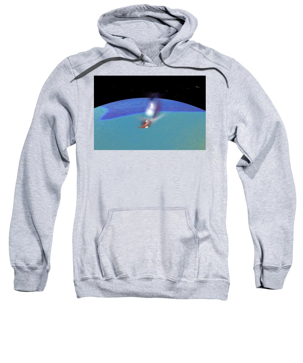 Abstract Digital Painting Sweatshirt featuring the digital art Reentry by David Lane