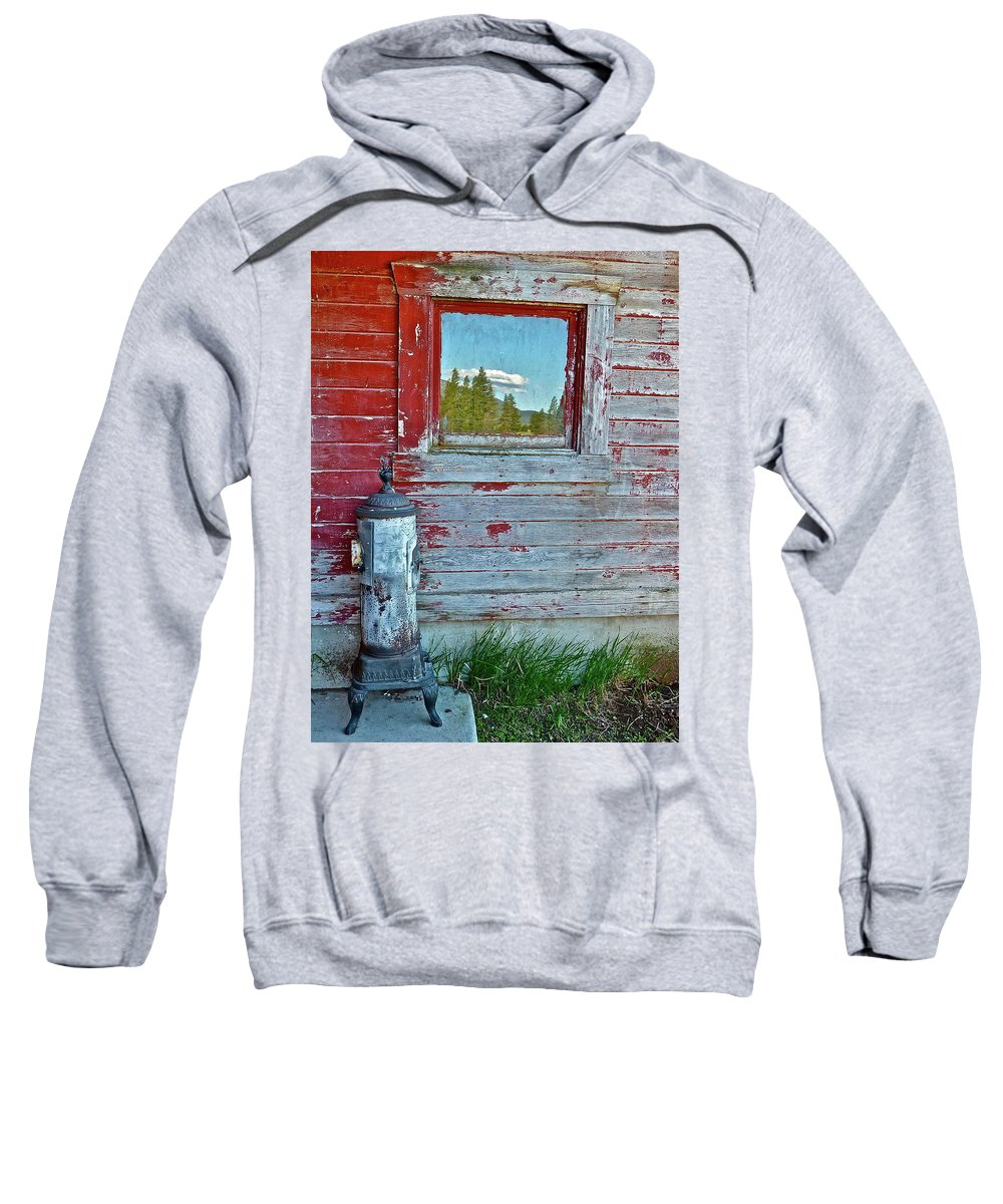 Barn Sweatshirt featuring the photograph Reflected View by Diana Hatcher