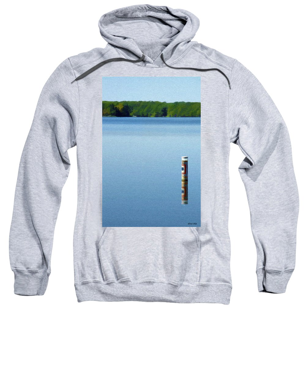 Blue Sweatshirt featuring the painting Reflected Warning by Jeffrey Kolker