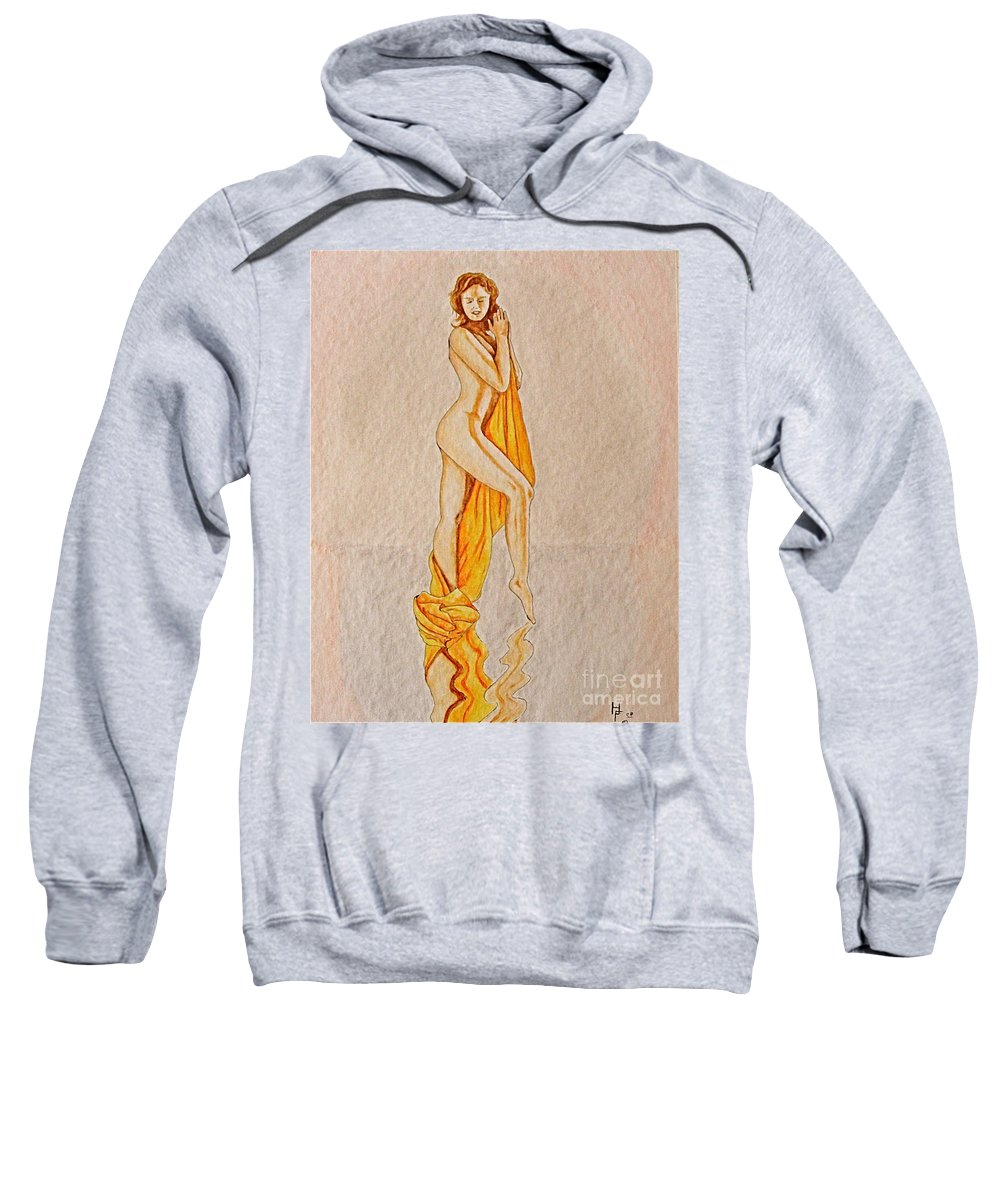 Nude Sweatshirt featuring the painting Reflection by Herschel Fall