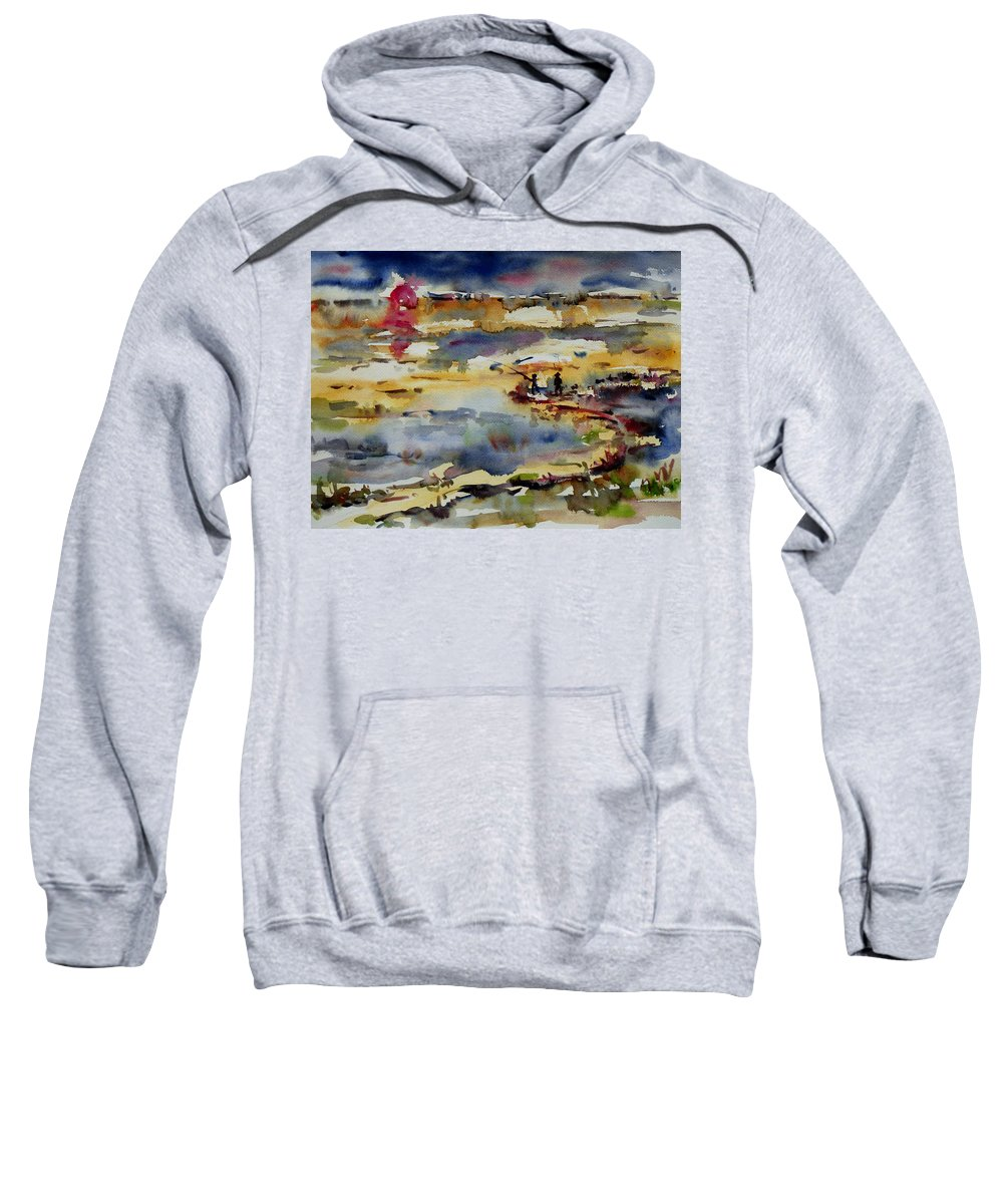 Sunset Sweatshirt featuring the painting Reflection Of Sunset Glow by Xueling Zou