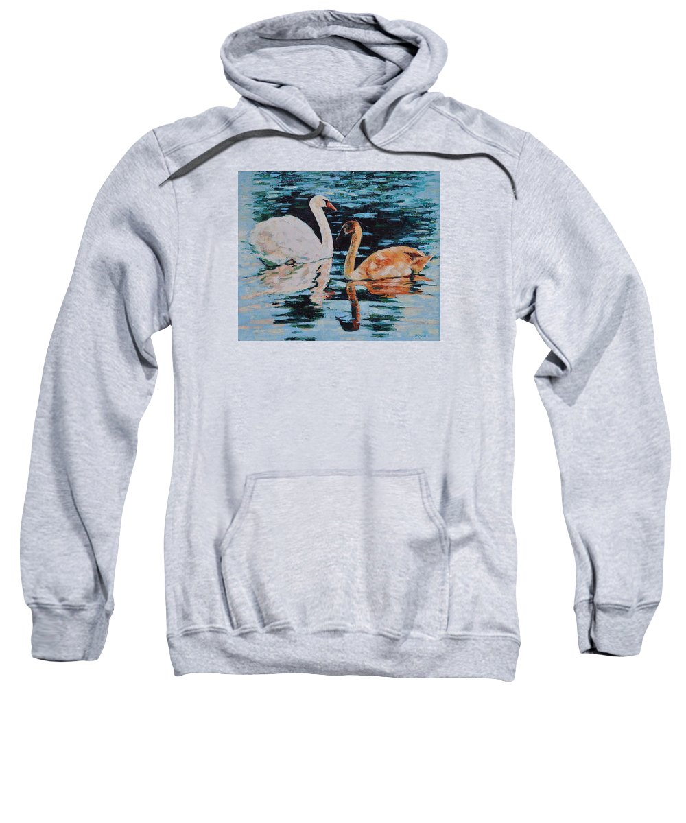 Blue Sweatshirt featuring the painting Reflections by Iliyan Bozhanov