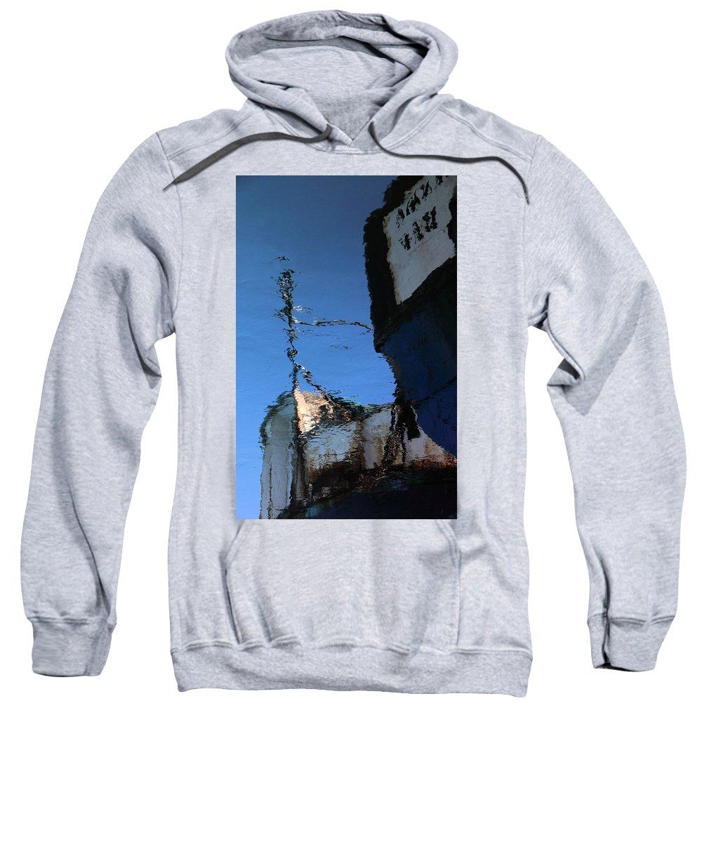 Reflection Of Anchored Boat Sweatshirt featuring the photograph Reflections In Blue by Adele Van Schalkwyk