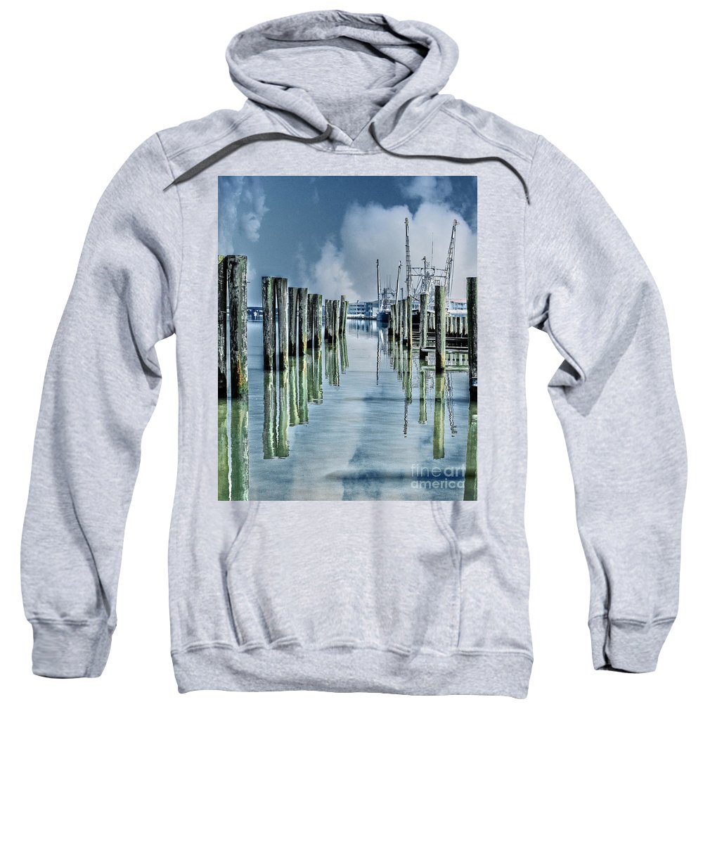 Pier Sweatshirt featuring the photograph Reflections In The Marina by Tom Gari Gallery-Three-Photography