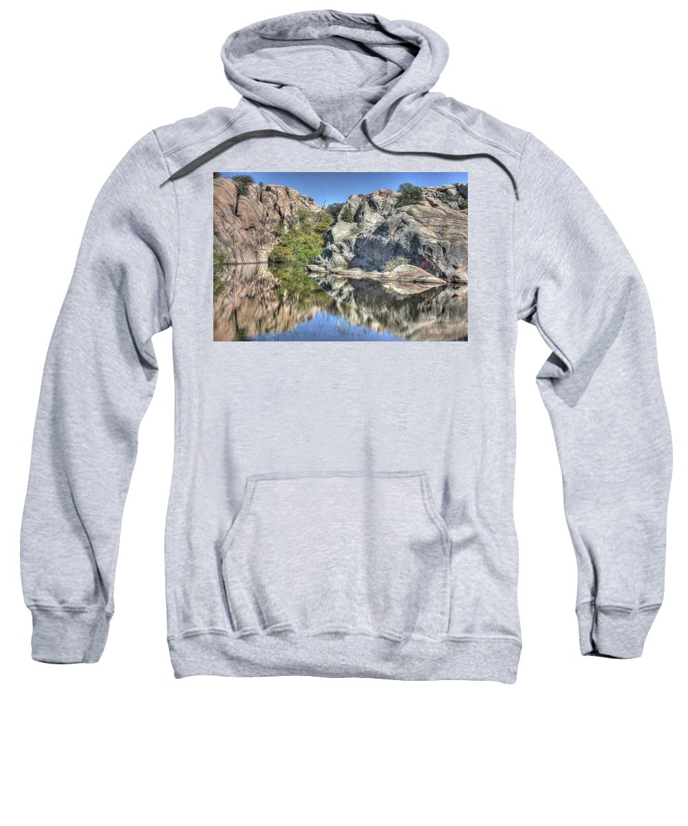 Beauty Landscape Waterscape Nature Water Reflections Cliffs Mountains Granite Granite Dells Prescott Trees Bushes Color Red Green Grey Blue Sky Hdr Thomas Todd Photography Willow Lake Prescott Northern Arizona Sweatshirt featuring the photograph Reflections Of Beauty by Thomas Todd