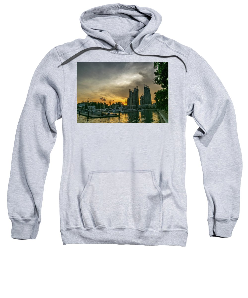 Landscape Se Asia Sweatshirt featuring the photograph Reflections Singapore by Janet Giles