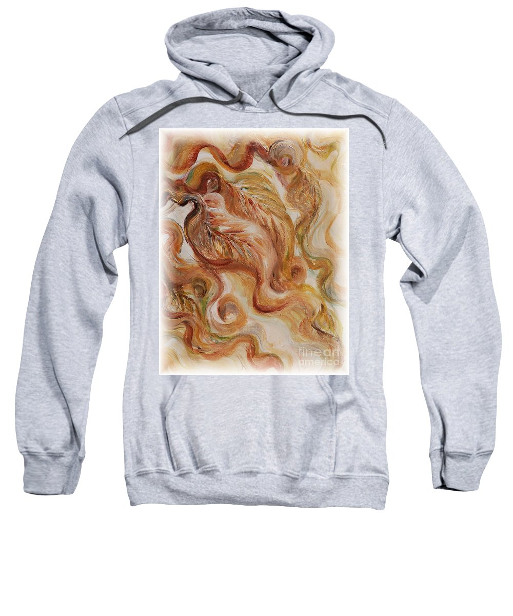 Leaves Sweatshirt featuring the painting Reflective Leaves by Nadine Rippelmeyer