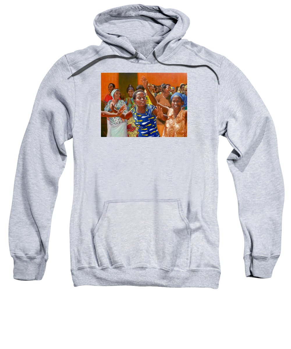 Realism Sweatshirt featuring the painting Rejoice by Donelli DiMaria