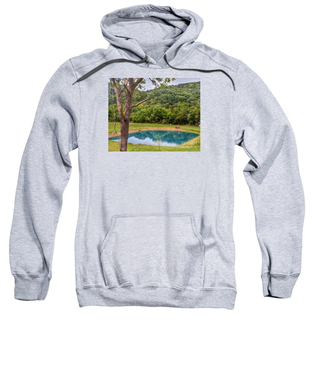Pond Sweatshirt featuring the photograph Relax And Sit A Spell by Kerri Farley