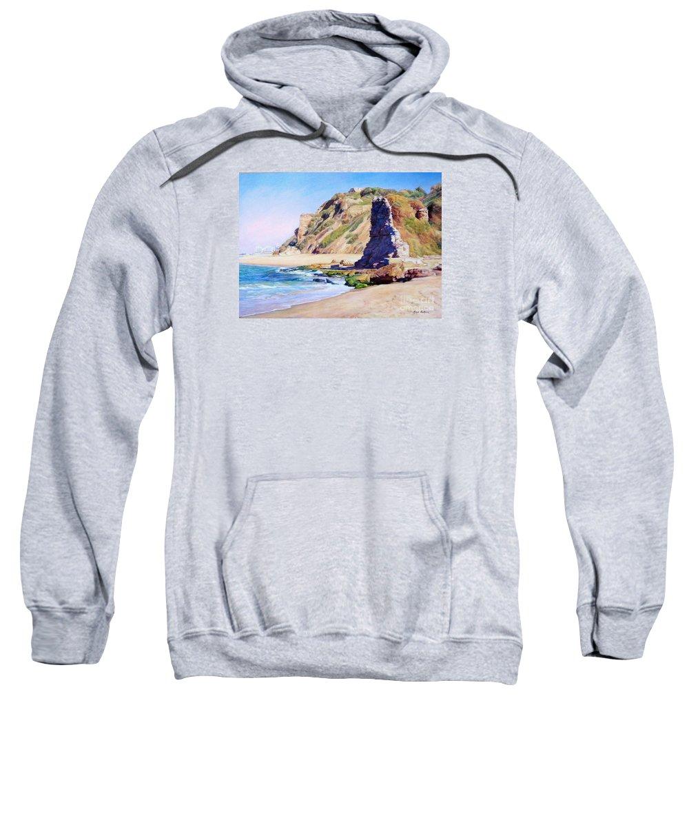 Sea Sweatshirt featuring the painting Remains Of Ancient Constructions On Seacoast by Maya Bukhina