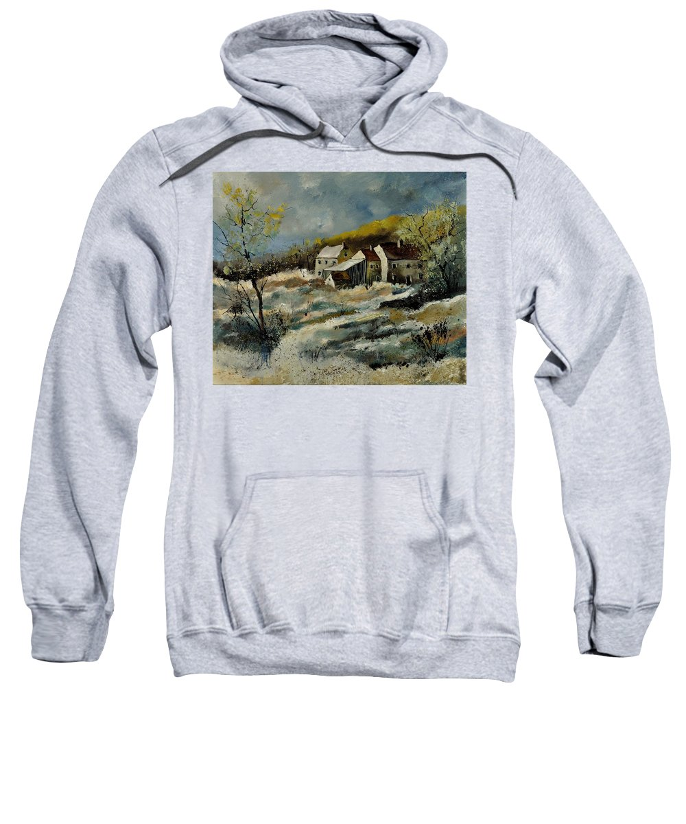 Landscape Sweatshirt featuring the painting Remote Houses In The Ardennes by Pol Ledent