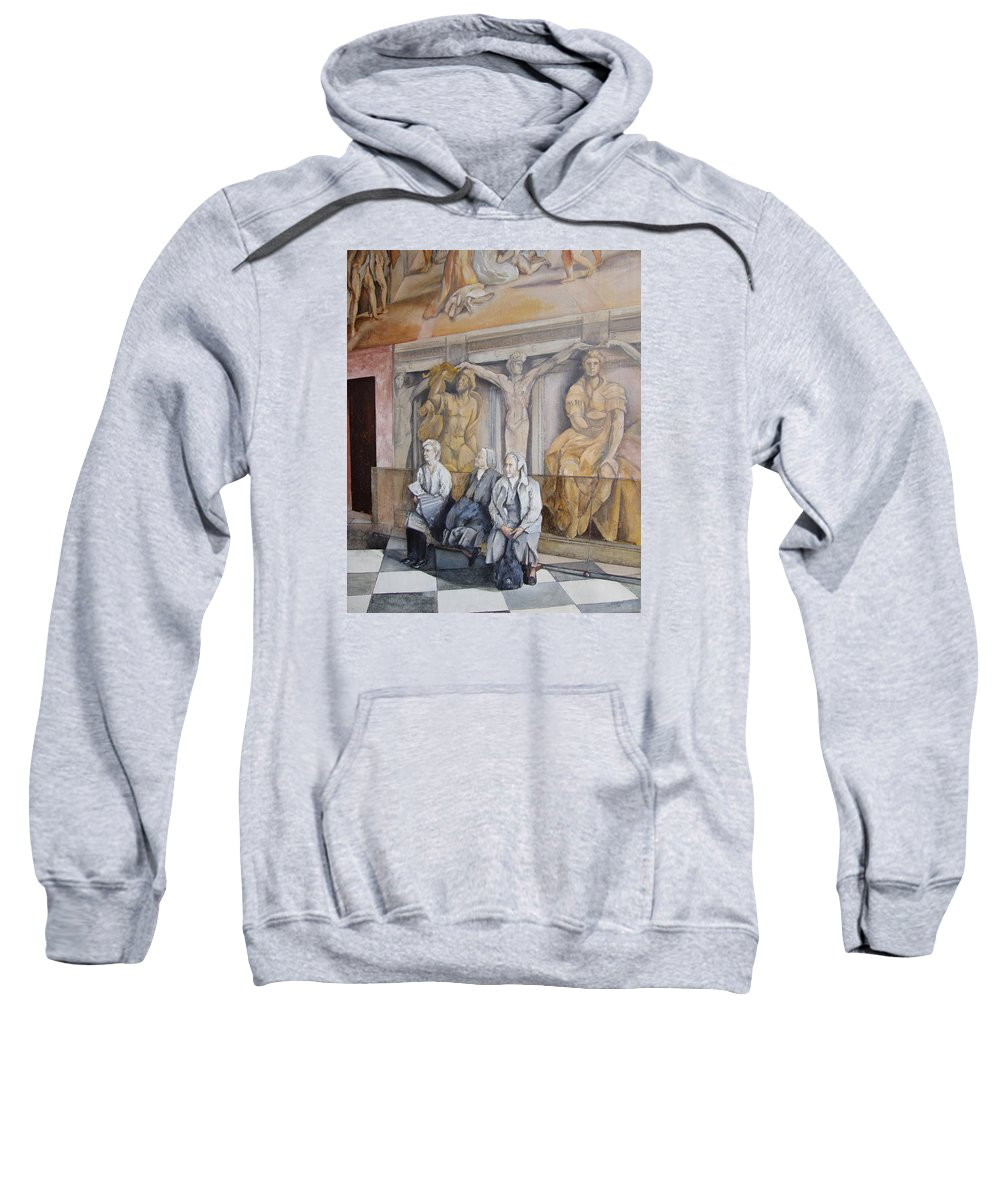 Vaticano Sweatshirt featuring the painting Reposo En El Vaticano by Tomas Castano