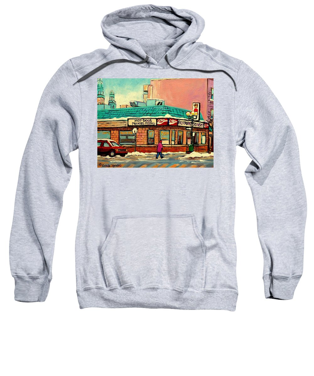 Greenspot Restaurant Deli Sweatshirt featuring the painting Restaurant Greenspot Deli Hotdogs by Carole Spandau