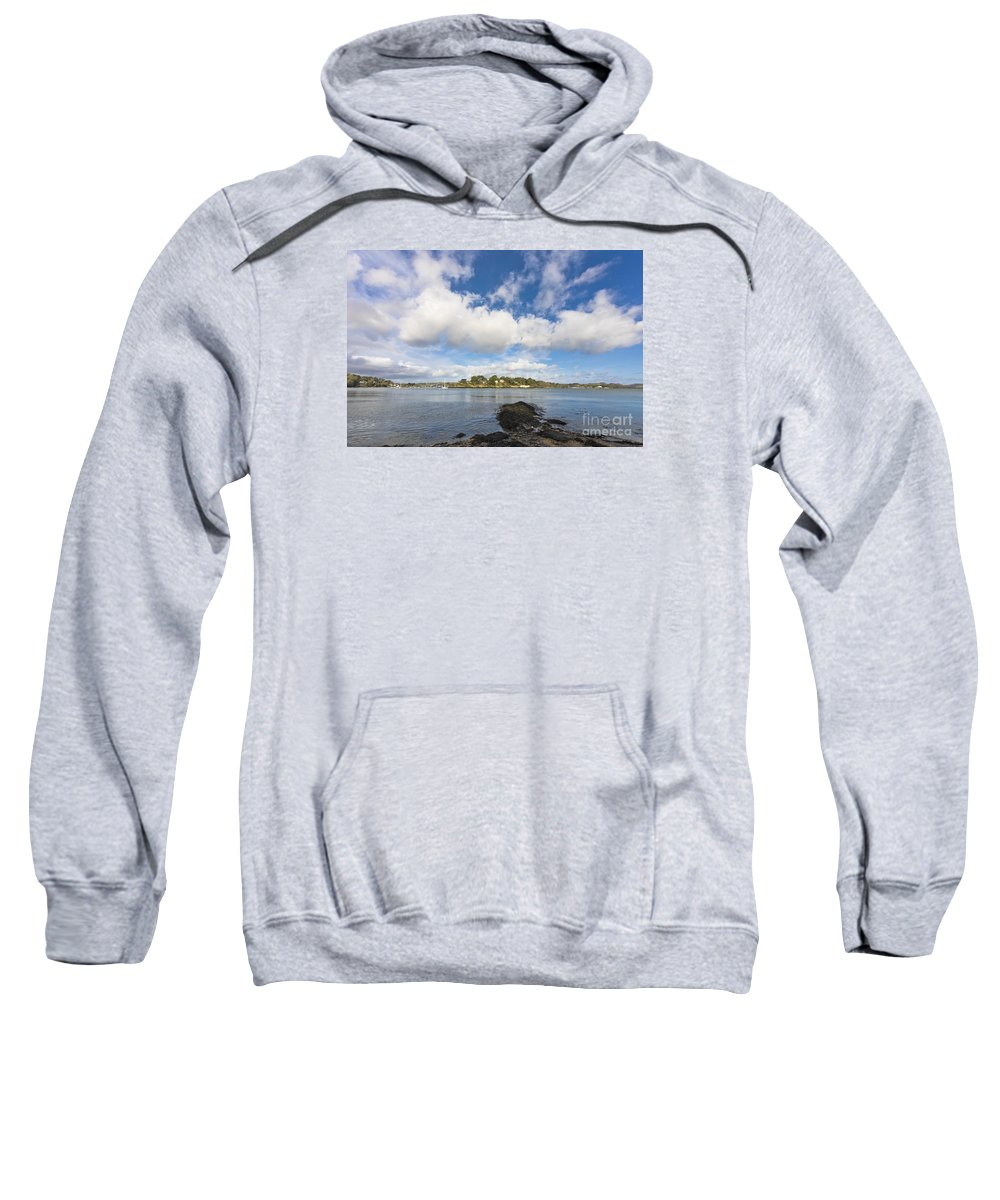 Coastline Sweatshirt featuring the photograph Restronguet Point Cornwall by Terri Waters