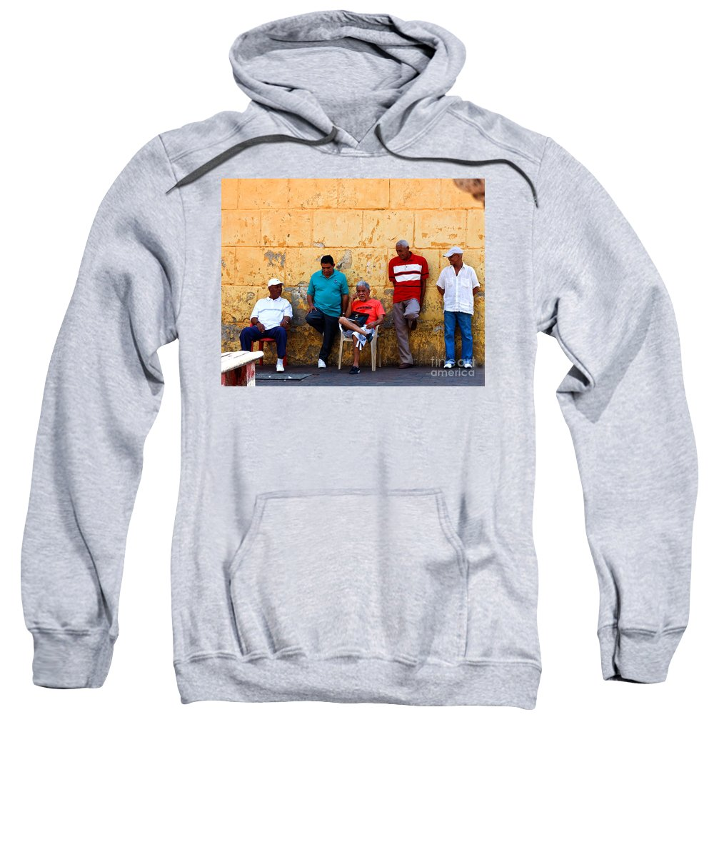 Senior Sweatshirt featuring the photograph Retired Men And Yellow Wall Cartegena by Thomas Marchessault