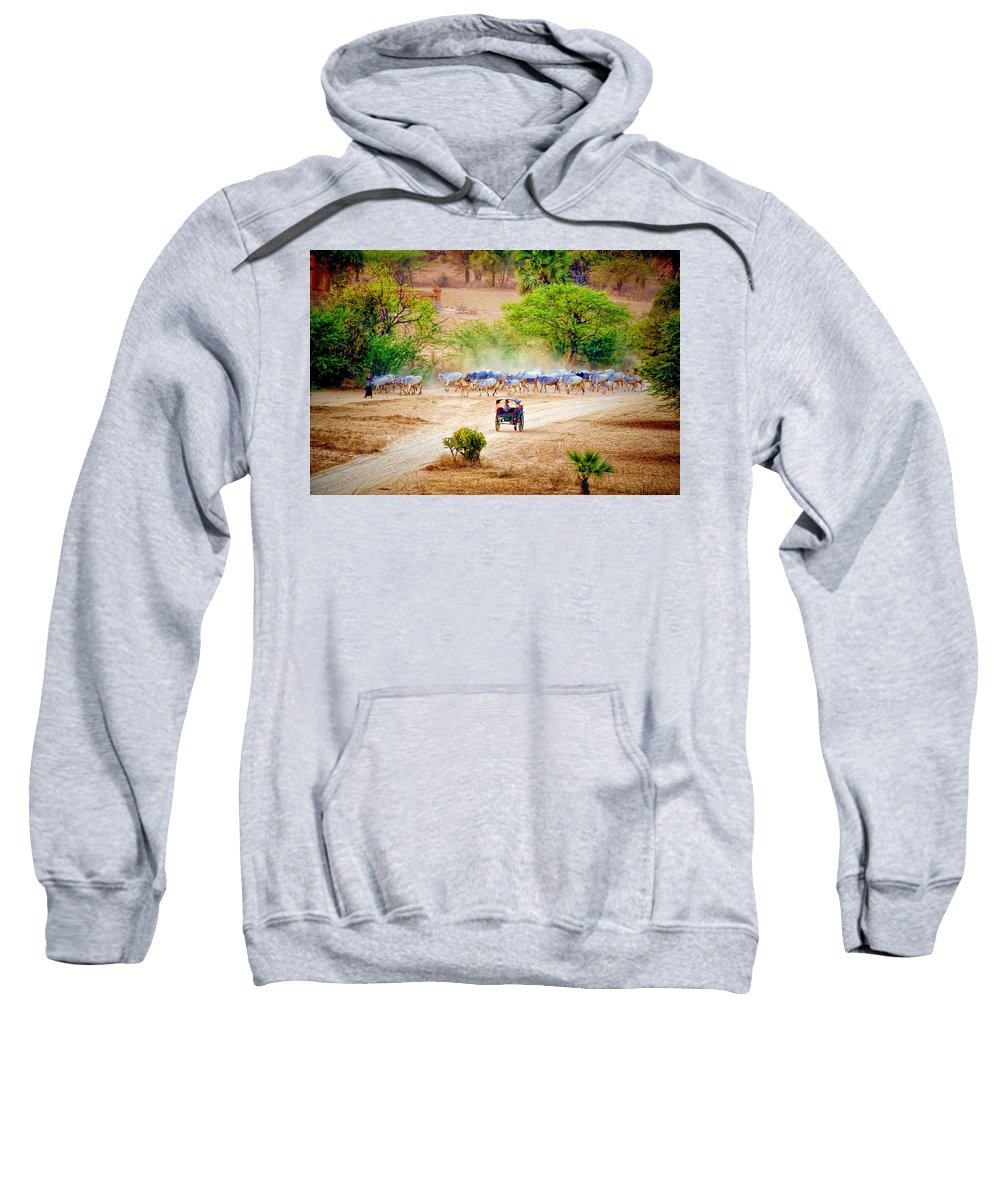 Myanmar Sweatshirt featuring the photograph Returning From Pasture 13 by Claude LeTien