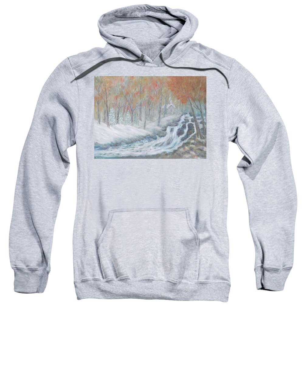 Snow; Landscape; Church Sweatshirt featuring the painting Reverence by Ben Kiger