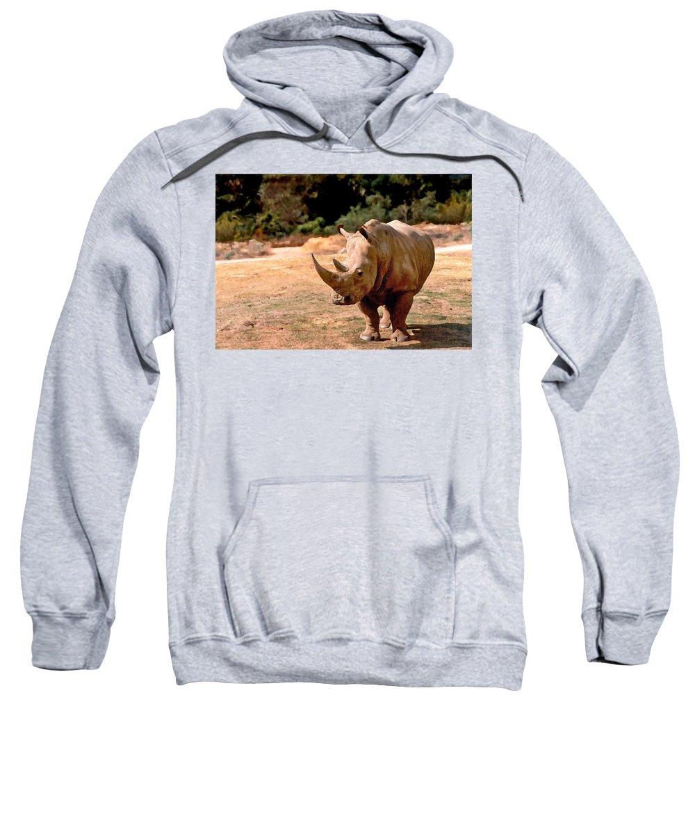Animal Sweatshirt featuring the painting Rhino by Steve Karol