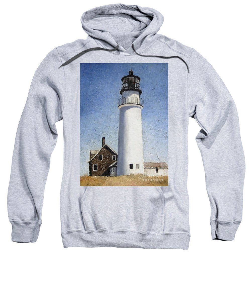 Lighthouse Sweatshirt featuring the painting Rhode Island Lighthouse by Mary Rogers