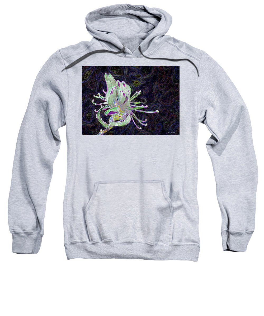 Flower Sweatshirt featuring the pyrography Rhodora-ism by Harry Moulton
