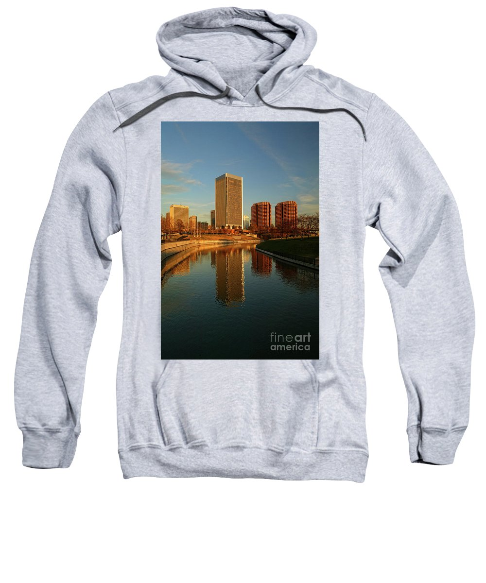 City Of Richmond Sweatshirt featuring the photograph Richmond Skyline And Canal by Doug Berry