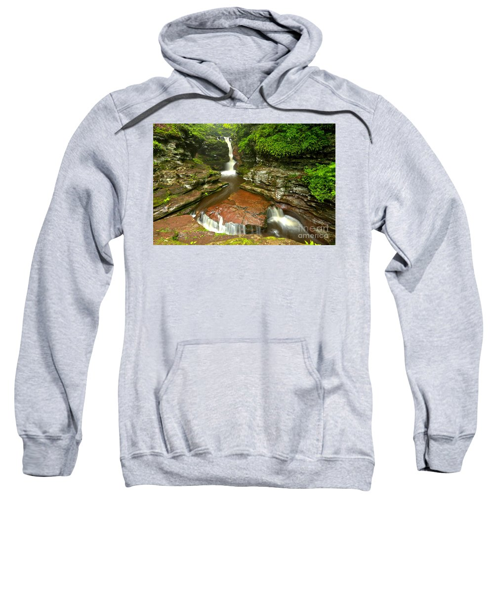Adams Falls Sweatshirt featuring the photograph Ricketts Glen Adams Falls by Adam Jewell