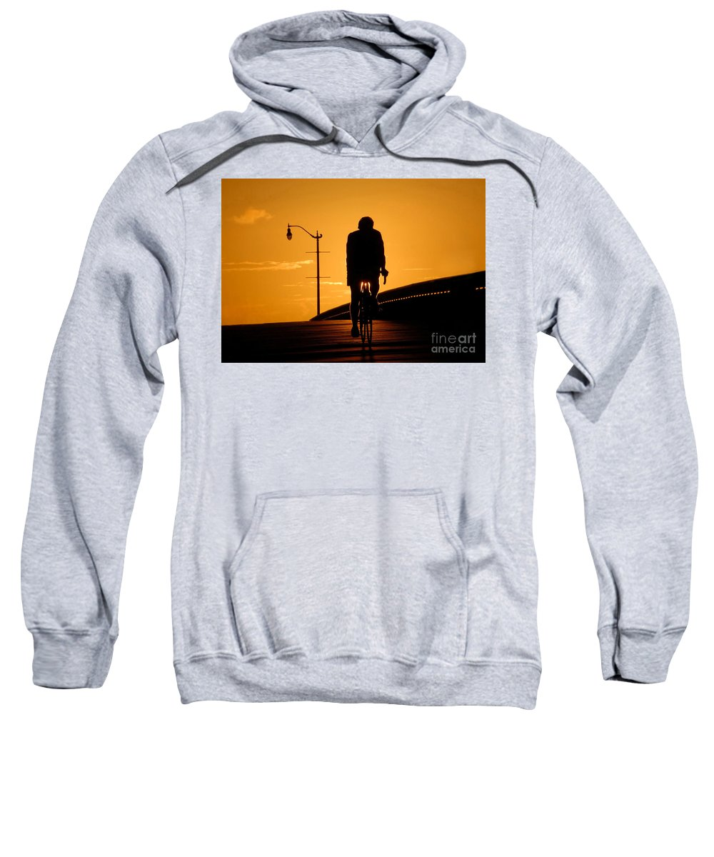 Bicycle Sweatshirt featuring the photograph Riding At Sunset by David Lee Thompson