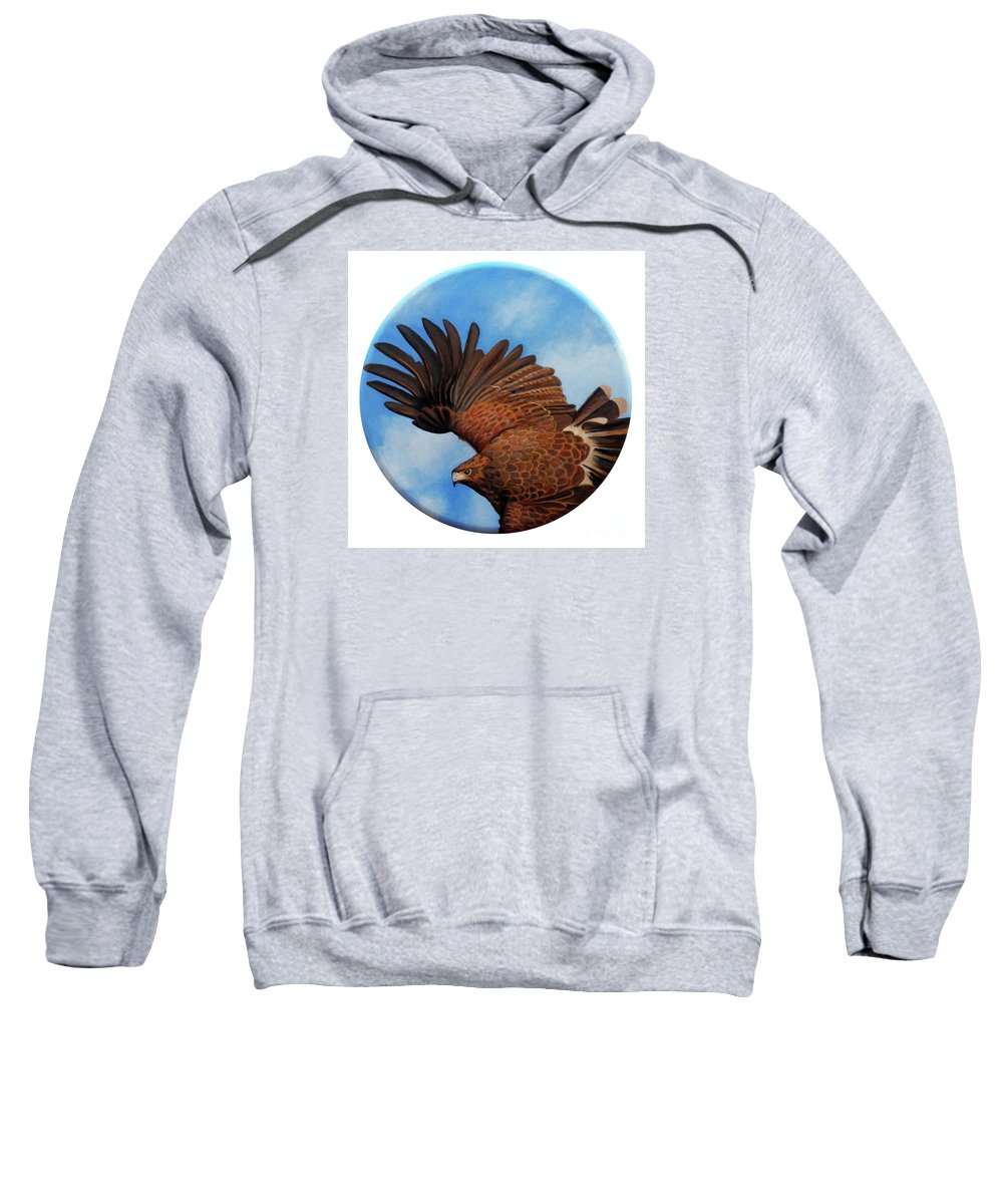 Hawk Sweatshirt featuring the painting Riding The Wind by Brian Commerford