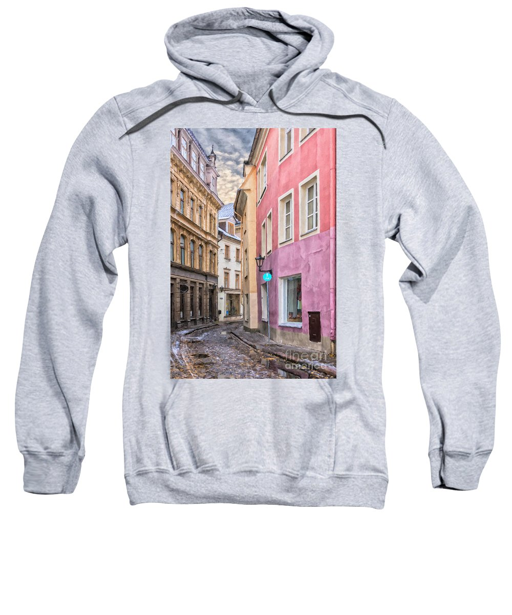 Digital Sweatshirt featuring the painting Riga Narrow Road Digital Painting by Antony McAulay