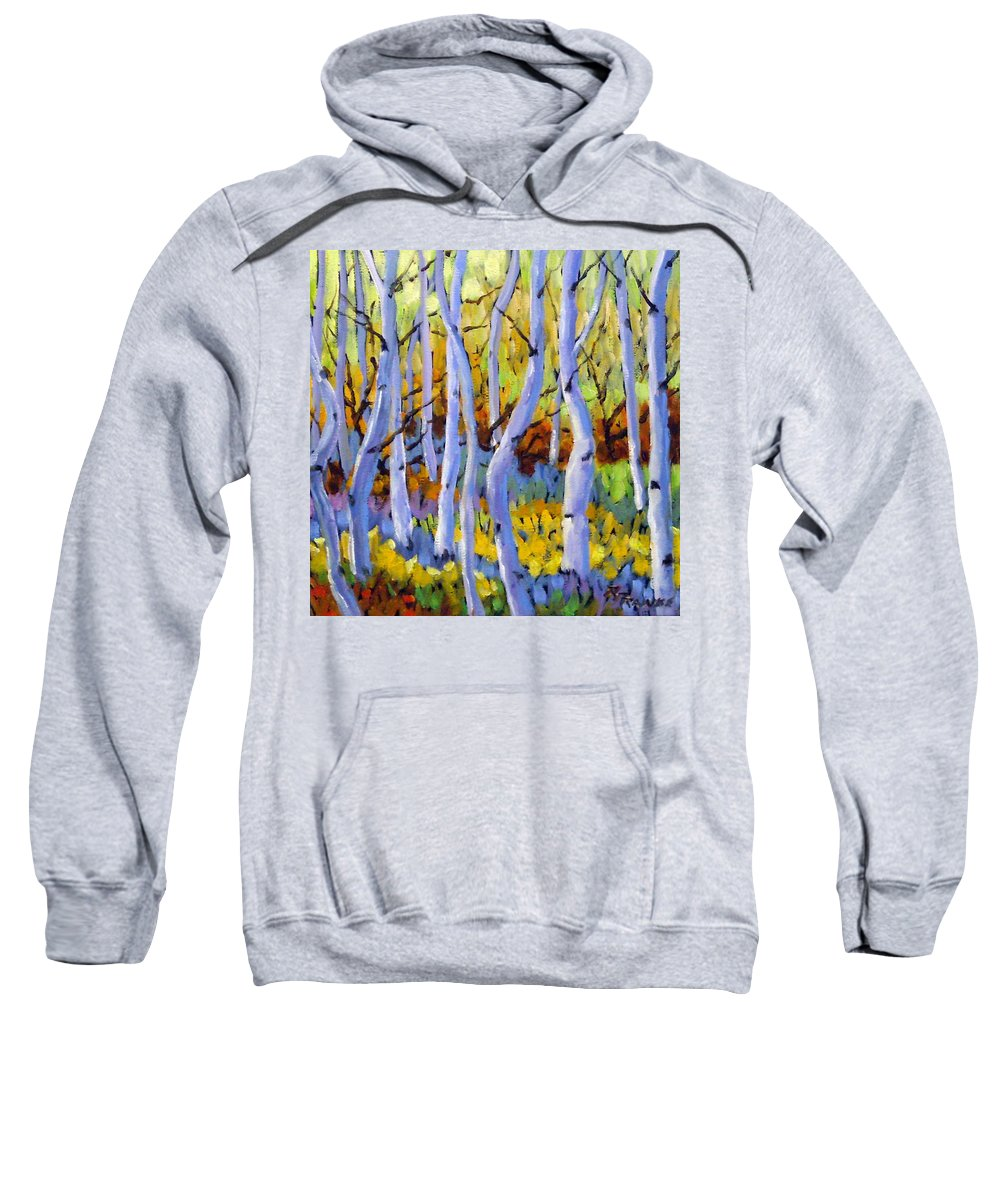 Art Sweatshirt featuring the painting Rigaudon Of Aspens by Richard T Pranke
