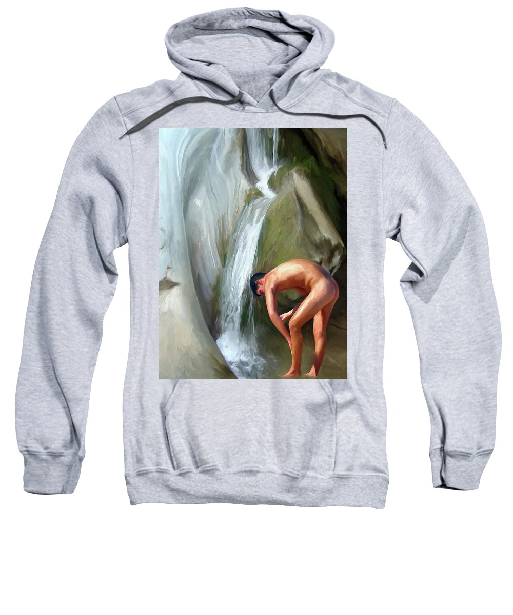 Mixed Media Sweatshirt featuring the digital art Rinsing Off by Snake Jagger