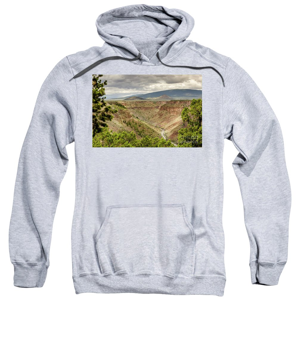 Rio Grande Gorge At Wild Rivers Recreation Area Sweatshirt featuring the photograph Rio Grande Gorge At Wild Rivers Recreation Area by Debra Martz