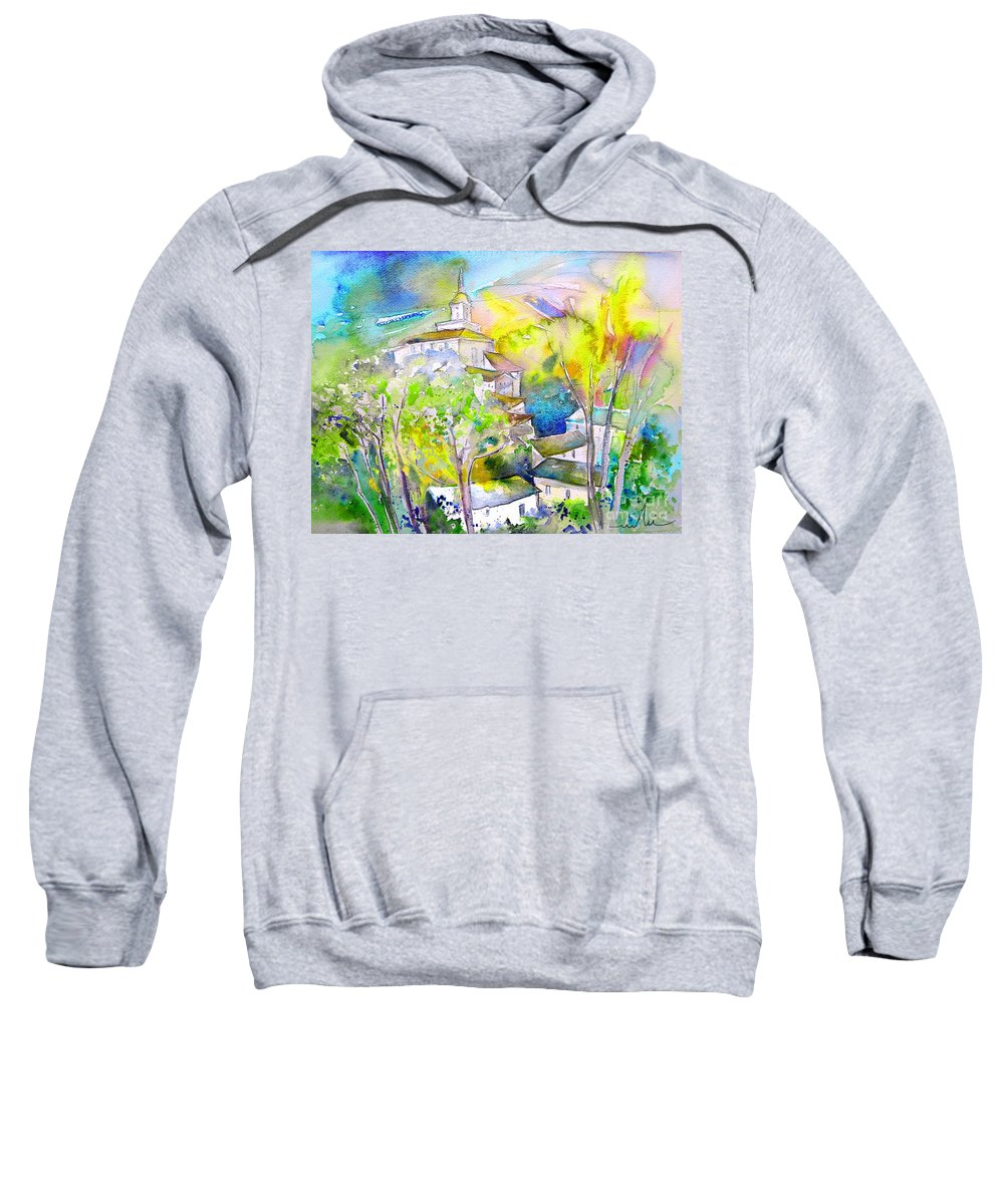 Watercolour Travel Painting Of A Village In La Rioja Spain Sweatshirt featuring the painting Rioja Spain 04 by Miki De Goodaboom