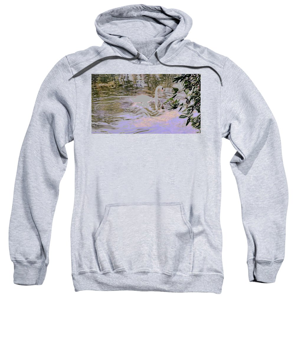 Swan Sweatshirt featuring the photograph Ripples Subdued by Ian MacDonald