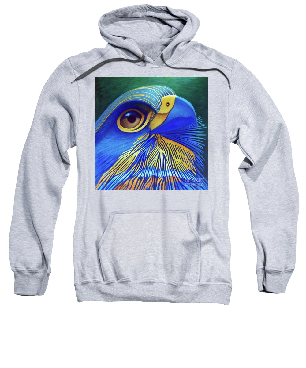 Hawk Sweatshirt featuring the painting Rise by Brian Commerford