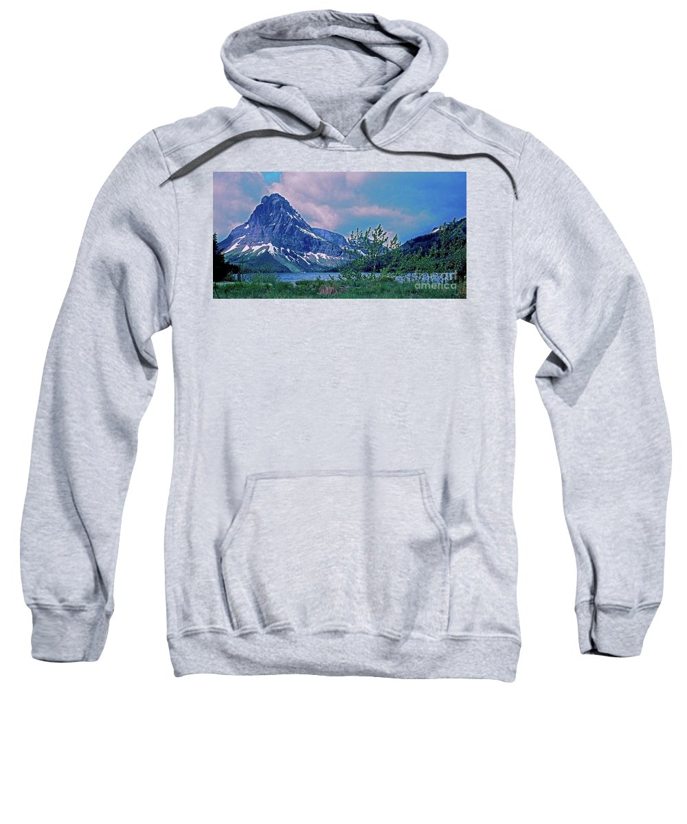 Montana Sweatshirt featuring the photograph Rising Wolf Mountain And Two Medicine Lake by Rich Walter